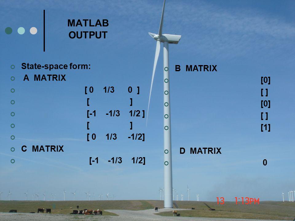 MATLAB OUTPUT State-space form: B MATRIX A MATRIX [0] [ 0 1/3 0 ] [ ]